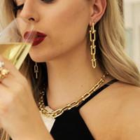 Kadınlar Vintage Geometrik Küpe Femme Brincos Zincir Püskül Küpe Punk Takı Parti Bijoux için 2020 Gotik U Zincirler Küpe
