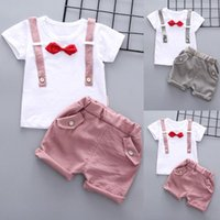 Clothing Sets Summer Toddler Baby Boys Gentleman Bow T-shirt Tops Shorts Pants Outfits Clothes Set Children Clothes Suits