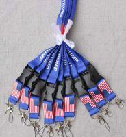 2 Typen TRUMP Lanyards U.S.A. Removable Flagge der Vereinigten Staaten Schlüsselanhänger Badge Anhänger Partei-Geschenk moble Telefon Lanyard LJJA4250