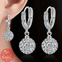 Rotondi Shamballa regalo della ragazza orecchino di nozze gioielli di moda argento 925 Zircon 10 millimetri Piccolo orecchini a cerchio per la femmina Orecchini