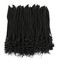 18inch Crochet Box Zöpfe Curly End synthetische Haar 100g / pc Ombre Farben Crochet Flechthaar Verlängerungenbrown- Burgund Zöpfe Häkeln Box