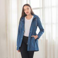 봄 가을 후드 레인 코트 여성 캐주얼 자켓 느슨한 여성 트렌치 코트 방수 허리 아래 여성 코트