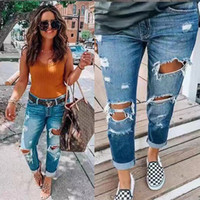 New style Women Ripped skinny pants hole Tight long trousers...