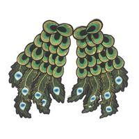 10 piezas de bordado Tide la industria pesada de la marca cosida a mano y dominante parches pavo real bordado alas accesorios de vestir padre-hijo
