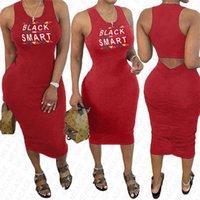 BLACK SMART Brief Printing Damen Sommerkleid Designer Kleider Sexy figurbetontes Sleeveless Strand beiläufig plissierte Kleider Kleidung S-XXL D7608