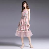 Günlük Elbiseler Moda Nakış Çiçek Elbise Parti Kadın Spagetti Sapanlar Çiçek İşlemeli Sundress Pembe Fırfır Mesh Dantel Uzun Kadın