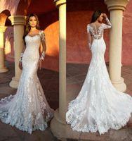 Sexy New Mermaid Robes de mariée élégante Dentelle appliquée à manches longues avec tulle mariée robe Illusion robes de mariée robe de mariée