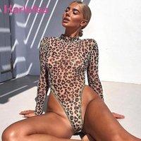 Karlofea Lady Sexy Sheer Leopard Print Bodysuit Top ver através Longo Seelve Bodycon Curto Macacão cobre camisas novo clube Macacões