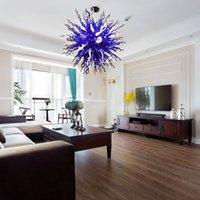 Лампарус взорванные стеклянные люстры светильники светильники спальни столовая гостиная огни мода светодиодные синие и белые круглые хрустальные лампы -L