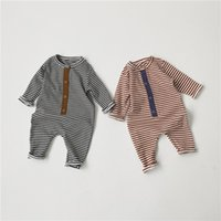 INS Newest Baby Boys Girls Rompers Jumpsuits Stripes Front B...
