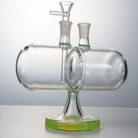 Neue 7-Zoll-umkehrbare Gravity-Wasser-Glas-Bong-Infinity-Wasserfall-Öl-DAB-Rigs 14mm weibliches Gelenk mit Schüssel