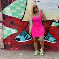 حار المرأة الصيف عارضة فساتين السباغيتي حزام الأزياء أنيق أكمام bodycon غمد العمود الحلوى الطبيعية اللون فوق الركبة dhl