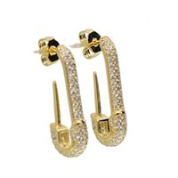 micro pave clear cubic zirconia high quality fashion jewelry safety pin stud european women trendy gorgeous earrings