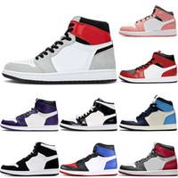 nike air jordan retro 1 1s off white 2020 جديد وصول الرجال لكرة السلة أحذية عالية OG 1S أحذية خفيفة دخان رمادي النساء منتصف GS الوردي الكوارتز Jumpman 1 محكمة الأرجواني Soprt
