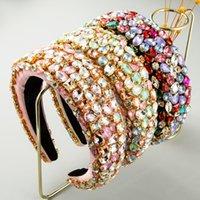 المبالغة كاملة كريستال العصابة لامرأة فاخر ملون الماس مبطن الإسفنج الشعر Hairband امرأة Rinestone تيارا الحافة