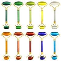 20 cores Pedra Natural Rolo Massagem Facial Prático face Jade anti-rugas corpo Chefe Massager portátil