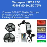 DC12V 10M RGB Flexible Strips 5050 300LEDs 72W Kit LED Lights Adapter IP65 Waterproof Lamps IR Remote Controller Direct China Wholesales
