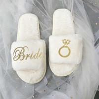 Party Favor Customized Coral Fleece Hausschuhe Team Braut, um Brautjungfer Geschenk Bachelorette Henne Geschenke für Hochzeitsgäste zu sein