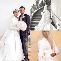 Tasarımcı Deniz Kızı Gelinlik Dalma V Yaka Saten Ruffles kaldır Tren Uzun Kollu Arapça Düğün Gelin Elbise Vestido de novia