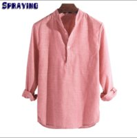 Casual Men' s Shirt Pure Cotton Long- sleeved Loose Strip...