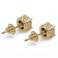 Mens Hip Hop Stud Earrings Jewelry New High Quality Fashion Gold Round Zircon Earrings For Men