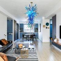 """Nordic Blue Shades lustre de iluminação 48"""" High Led candelabro e Pendant luzes mão vidro fundido candelabro casa decoração sala-L"""
