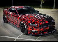 Premium Black Red Camouflage Vinyl Car Wrap наклейка наклейки с воздушным каналом Технология выпуска DIY Укладки Автомобильная упаковочная фольга