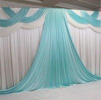 Contextos de la boda con la decoración de guirnaldas de seda blanca del hielo Tiffanly cortinas elegante telón de apoyos boda cortina partido 20 * 10 pies