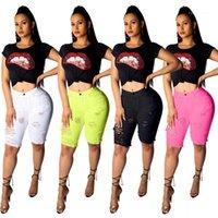 Knielänge Ripped Quaste Loch Womens Designer Jeans aus gewaschenem Blass Street Süßigkeit-Farben-Sommer-Frauen Shorts dünnen