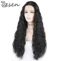 Зезен синтетические кружевные фронт парики HD кружева 13x4 беззвук кружевной фронт парики Глубокая волна для женщин