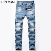 Designer Herren Jeans 2020 Splash Ink Herren Ripped gerade Denim-Hosen-beiläufige Slim Fit Herren Biker Denim Trouses Los Hombres Jeans
