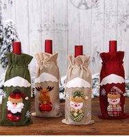 Bouteille de vin de Noël couverture Sacs Père Noël cadeau renne de flocon de neige bouteille Elf Tenir sac de cas de bonhomme de neige de Noël Home Décor DHA555