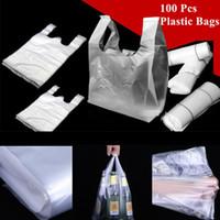 100pcs StoreBag compras bolsas de plástico Bolso de ultramarinos reutilizable con la manija de empaquetado Espesor 15-26cm / 20-30cm / 24-37cm
