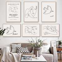 Moderne abstrakte Linie Mädchen und Taube Leinwand-Malerei Bild Friedenstaube Plakat und Print-Wand-Kunst-Dekoration für Wohnzimmer