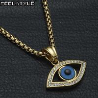 Hip Hop Iced Bling en acier inoxydable Out Colliers mauvais oeil Pendentifs IP Gold Filled Collier yeux de pierre naturelle pour les hommes Bijoux