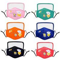 DHL Fast Cartoon Bear Kids Barn Designer Ansiktsmask Med Ögonsköld Återanvändbar Tvättbar Skyddande Stoftskydd Earloop Bomull Masker FY9147