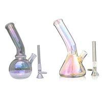 """Electro-placcatura Glass Bong Tubature dell'acqua 7.87"""" Bong Ice Catcher Dab Oil Rigs Bowl Downstem tubo di fumo"""