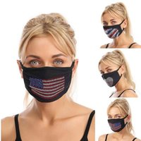 3 Styles Trump Cotton Face Mask American Flag Environmental Protection Color Rhinestone Flash Drill Dustproof Reusable Mask YYA337