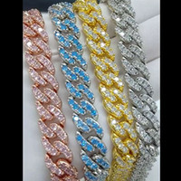 4色オプションのための4色12mm 16/18/20インチゴールドメッキ氷アウトCZストーンマイアミキューバチェーンチェーンネックレスジュエリー男性女性