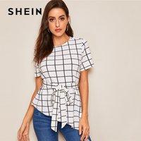 Shein Asimetrik Hem Kuşaklı Izgara Yaz Bluz Kadınlar Giyim 2020 Şık Kısa Kollu Yuvarlak Yaka Bluz Bayan Üst