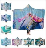 Psychedelic Art Remolino de mármol manta aguada de oro que fluye niños con capucha Manta Suave Sherpa caliente mantas polar portátiles para New Kids!
