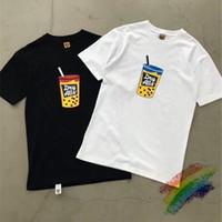 2020SS Humano feito leitoso chá impresso t-shirt homens mulheres 1: 1 casais de alta qualidade camisetas enorme camiseta homens t200708