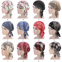 Новый Мусульманский Женщины Хлопок печати Pre-Tied Тюрбан Hat Рак Химиотерапия Шапочки Caps Потеря Headwear Head Wrap Bonnet Аксессуары для волос