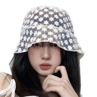 2020 Новый корейский LACE Hat для женщин Floppy Складная лето Bucket Hat Soft Lace цветов Широкий Брим шлемов Sun платье Кружева Дамы Hat