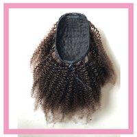 Las colas de caballo peruano brasileña del cabello humano # 2 del color afro rizado rizado 100g / pieza de cola india Virgen del pelo los productos potro rizado rizado rizos