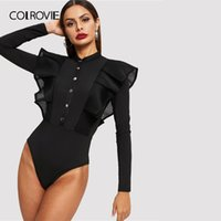 COLROVIE Siyah Düğme Ön File Mesh Trim fırfır Bodysuit Kadınlar Katı bodysuit 2020 Güz Seksi Yaka Skinny Bodysuits Standı