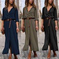 Partykleider Frauen Y Sommer Kleid Mode Langarm Boho Sexy Strand Maxi V Hals Casual Femme Hemd