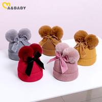 MaBaby 6M-3Y Otoño Invierno infantil del niño del bebé muchacho niñas de punto sombrero caliente de Pom Pom sombreros arco lindo
