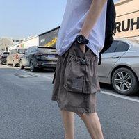 Ebaihui Vintage Cargo Shorts for Men At 5 Mins Ins, Loose and Large Trousers for Joker, Japanese Straight Leg, Korean Version XDK16