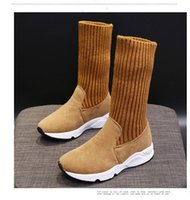 Дизайнер сапоги девушки женщин Классический Fly Вязание Snow Boots Каштан моды Боути голеностопного Короткий лук Мех Зимняя Загрузочный